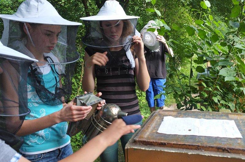 Lisa und Dodo füttern die Bienen 1
