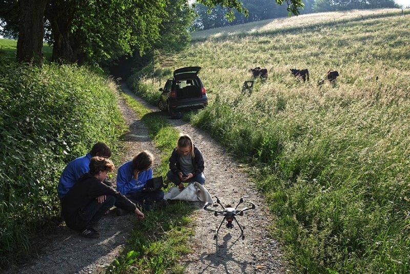 Weide am Bieberwoog - Drohne im Aufbau 2