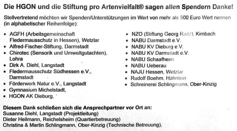 Sponsoren Mausohr-Bahnhof Mümling-Grumbach