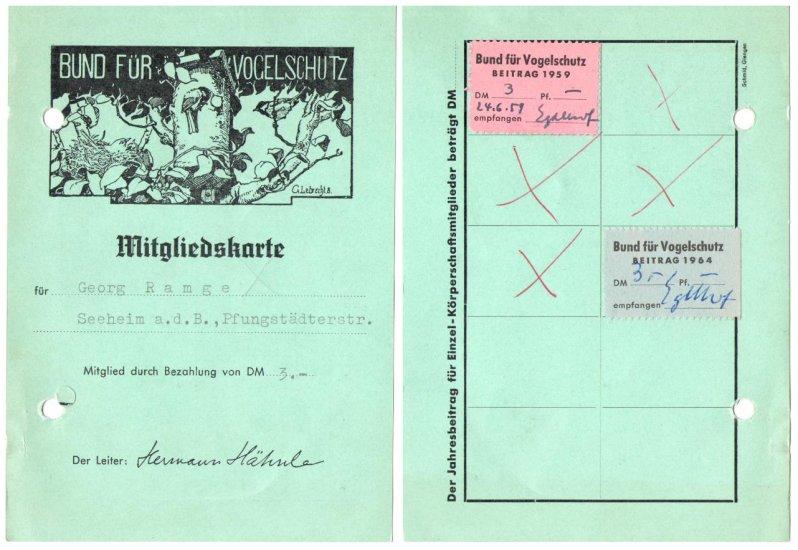 Mitgliedsausweis Bund fuer Vogelschutz 1959