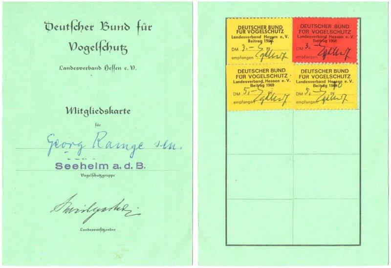 Mitgliedsausweis Bund fuer Vogelschutz 1966
