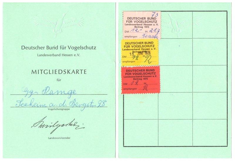 Mitgliedsausweis Bund fuer Vogelschutz 1973