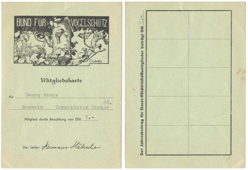 Mitgliedsausweis Bund fuer Vogelschutz xxxx