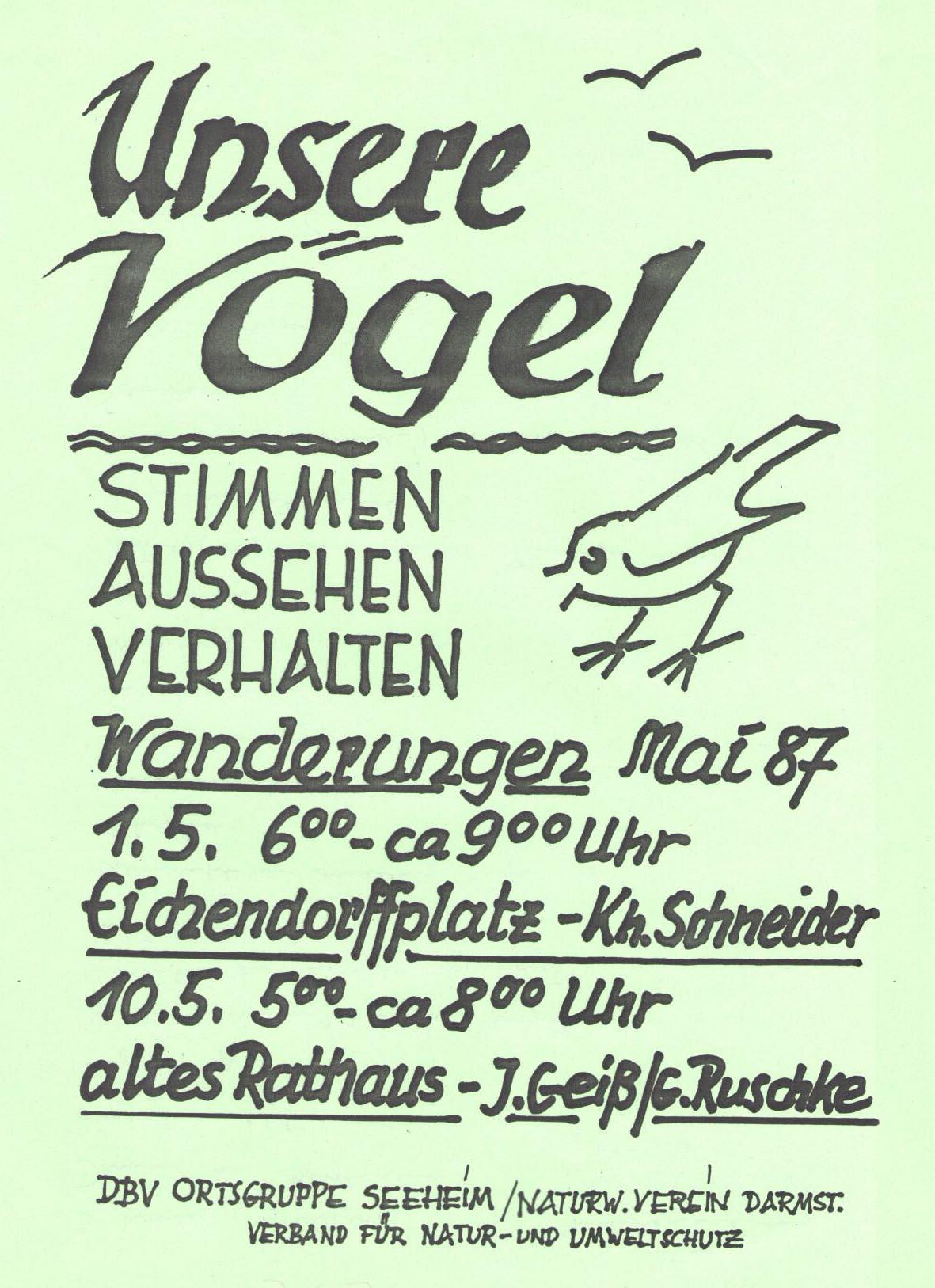 Einladung zur Vogelstimmenwanderung am 1.5.1987