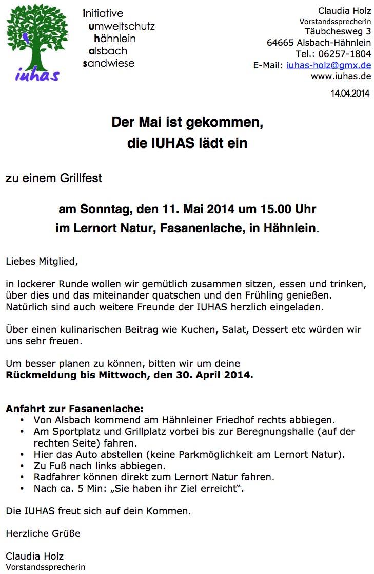 iuhas-Grillfest Einladung
