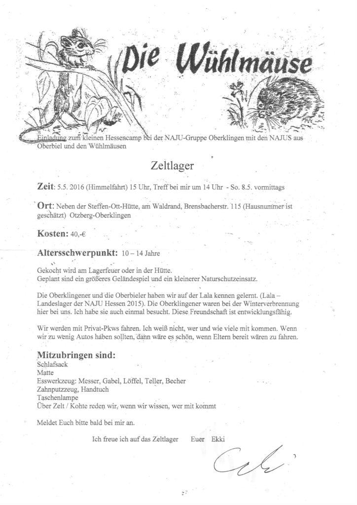 Wühlmaus-Zeltlager Himmelfahrt 2016
