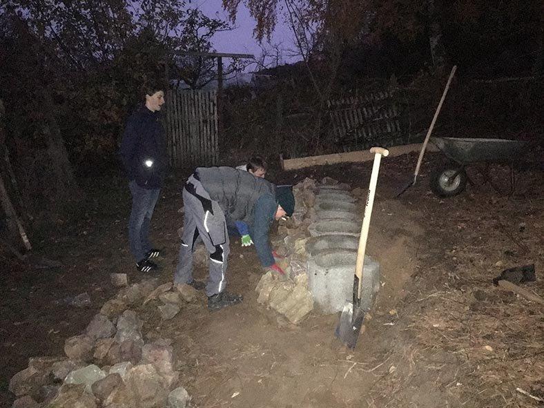 Trockensteinmauer Wühlmausgarten Nacht 1