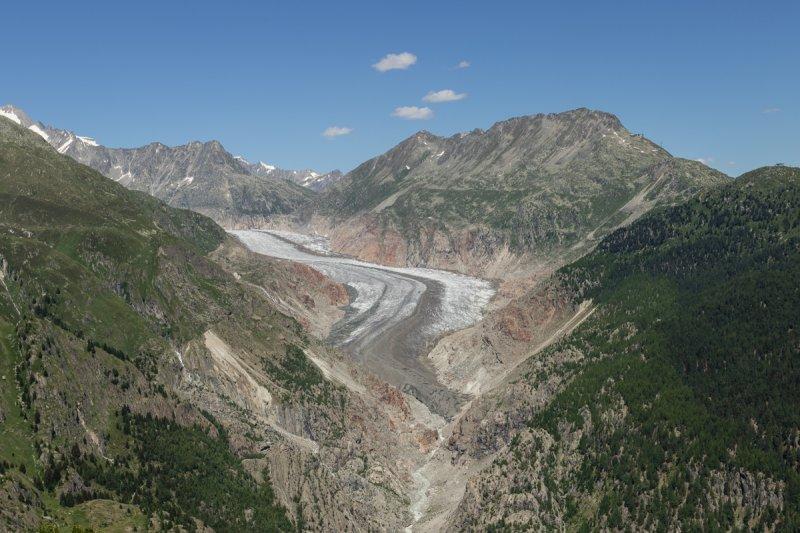 04 Der Große Aletschgletscher, gut zu erkennen sind die fast vegetationslosen Gebiete oberhalb des Gletschers, sie markieren den ehemaligen Gletscherstand.